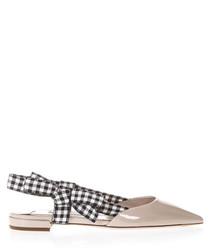 Beige patent ribbon slingback shoes