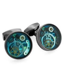 Gunmetal & turquoise cufflinks