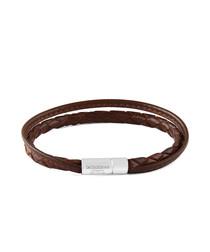 Brown & silver-tone braided bracelet