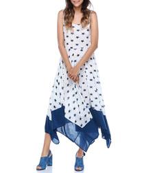 White & blue star print midi dress