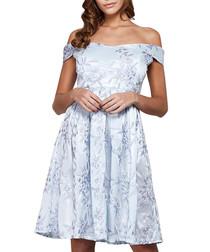 Blue print off-the-shoulder dress