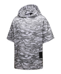 Men's grey cotton blend camo hoodie