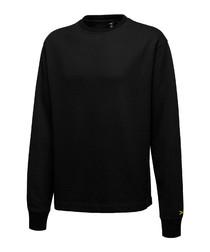 Black cotton crew neck jumper