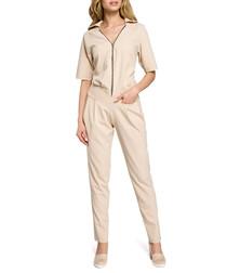 Beige zip-up short sleeve jumpsuit