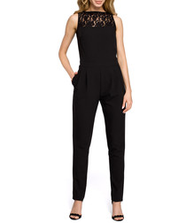 Black lace panel sleeveless jumpsuit