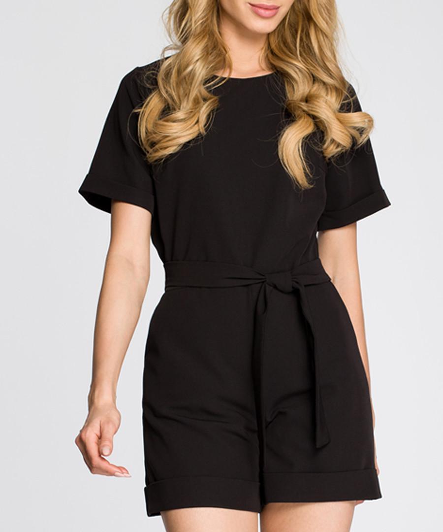 Black short sleeve tie-waist playsuit Sale - made of emotion