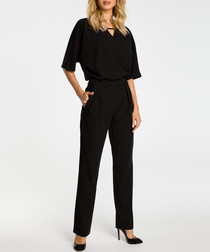 Black cut-out short sleeve jumpsuit