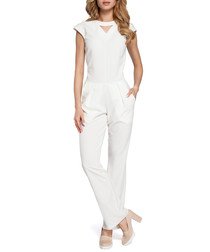 Ecru cut-out cap sleeve jumpsuit