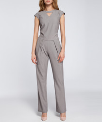 Grey cut-out capped sleeve jumpsuit