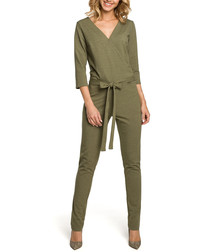 Khaki V-neck 3/4 sleeve jumpsuit