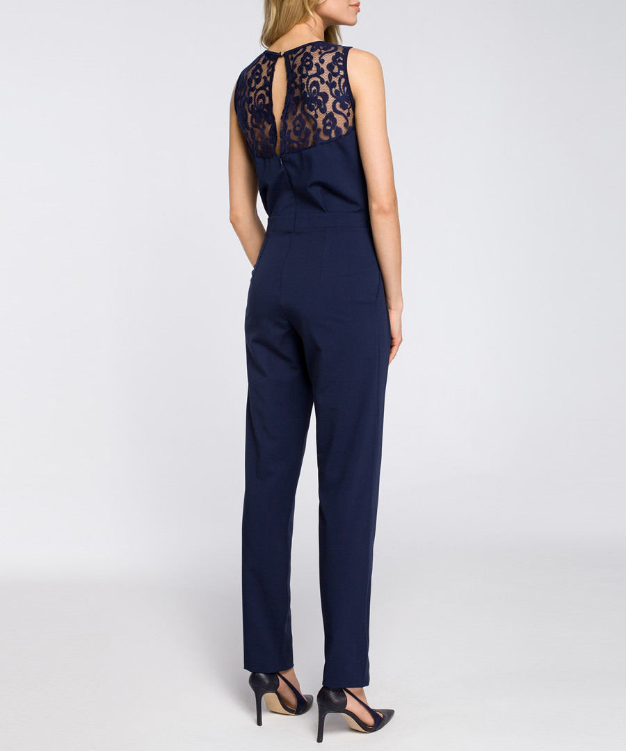 Navy lace panel sleeveless jumpsuit Sale - made of emotion