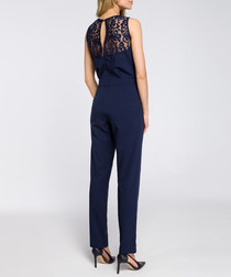 Navy lace panel sleeveless jumpsuit