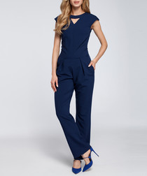 Navy cut-out capped sleeve jumpsuit
