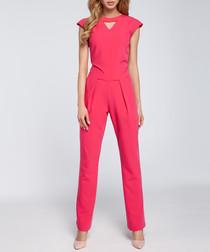 Pink cut-out cap sleeve jumpsuit