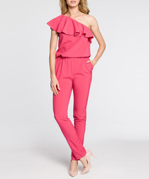 Pink one-shoulder ruffle jumpsuit