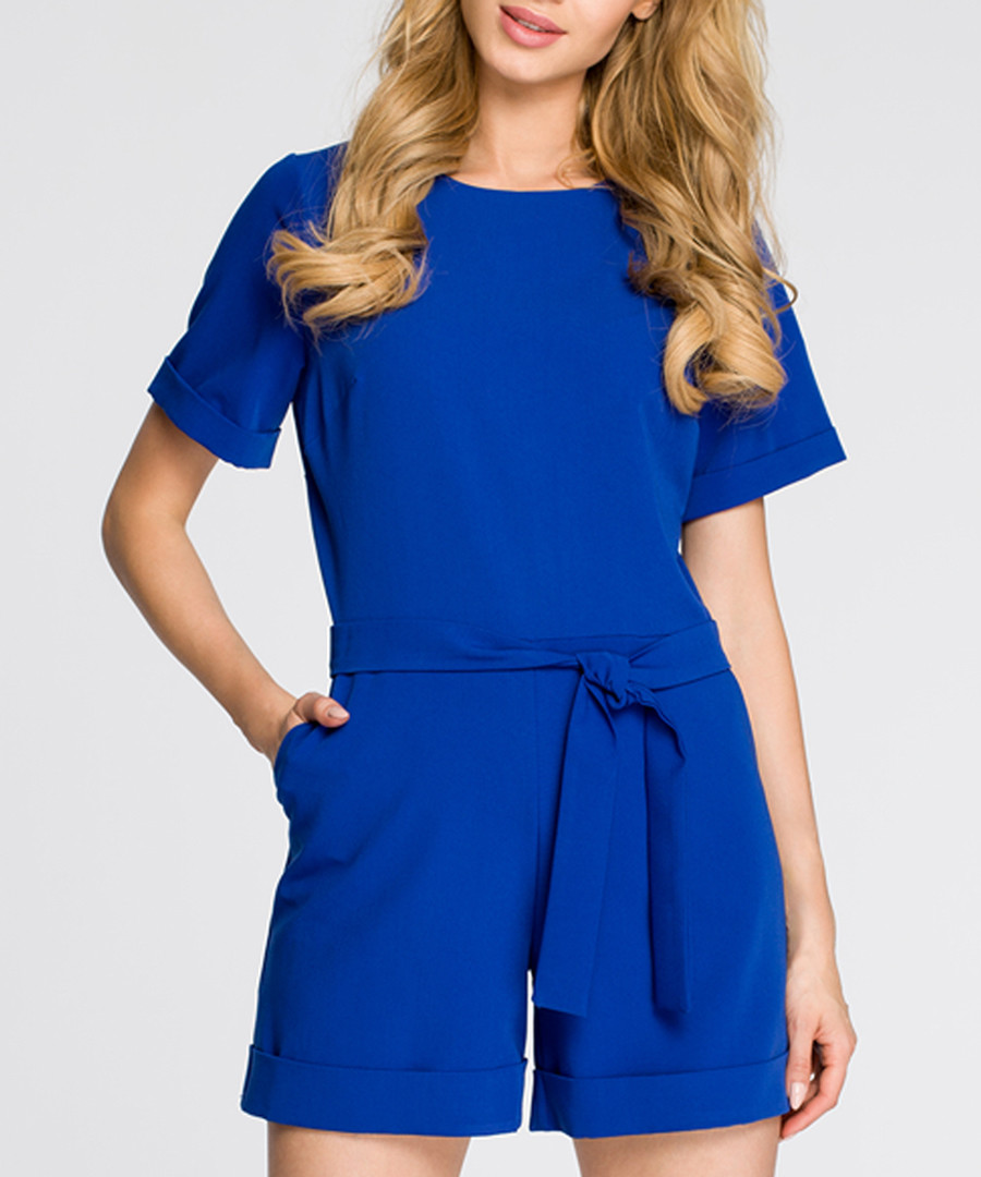 Royal blue short sleeve playsuit Sale - made of emotion