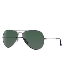 Men's aviator green lens sunglasses