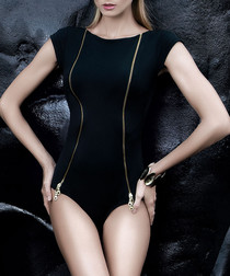 Black zip-detail short sleeve swimsuit