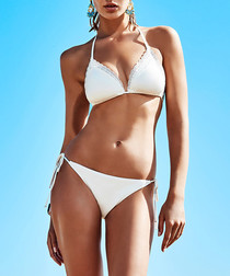 2pc white tie-up bikini set