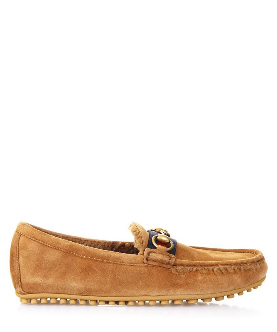 Men's Ram camel leather moccasins Sale - gucci