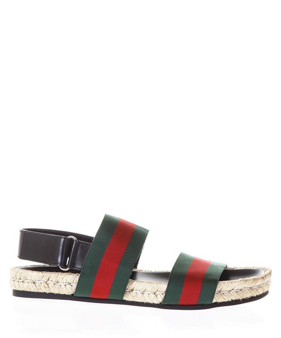 Men's Juan green leather sandals Sale - gucci