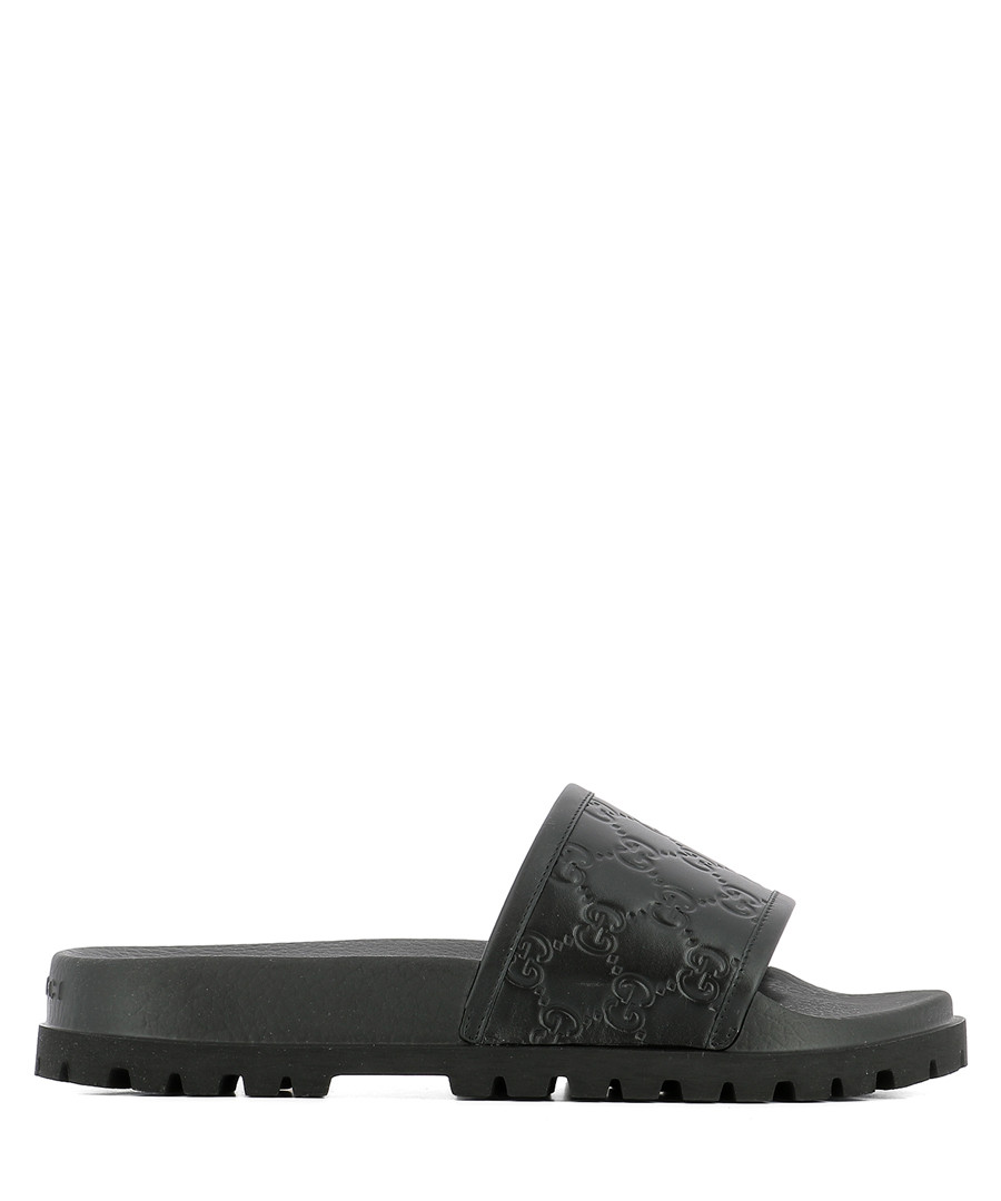 Men's black leather embossed sliders Sale - gucci