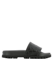Men's black leather embossed sliders
