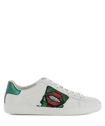 White leather lace-up sneakers