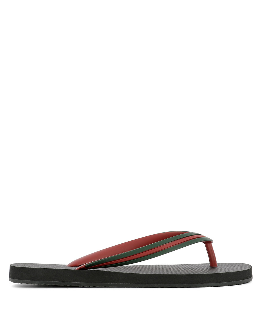 Men's black rubber flip flops Sale - gucci
