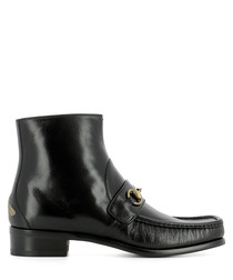Men's black leather horsebit ankle boots
