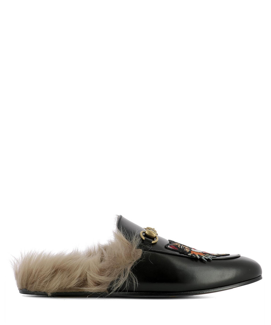 Men's black leather tiger loafers Sale - gucci
