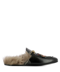 Men's black leather tiger slippers