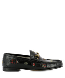 Men's black leather embroidered loafers
