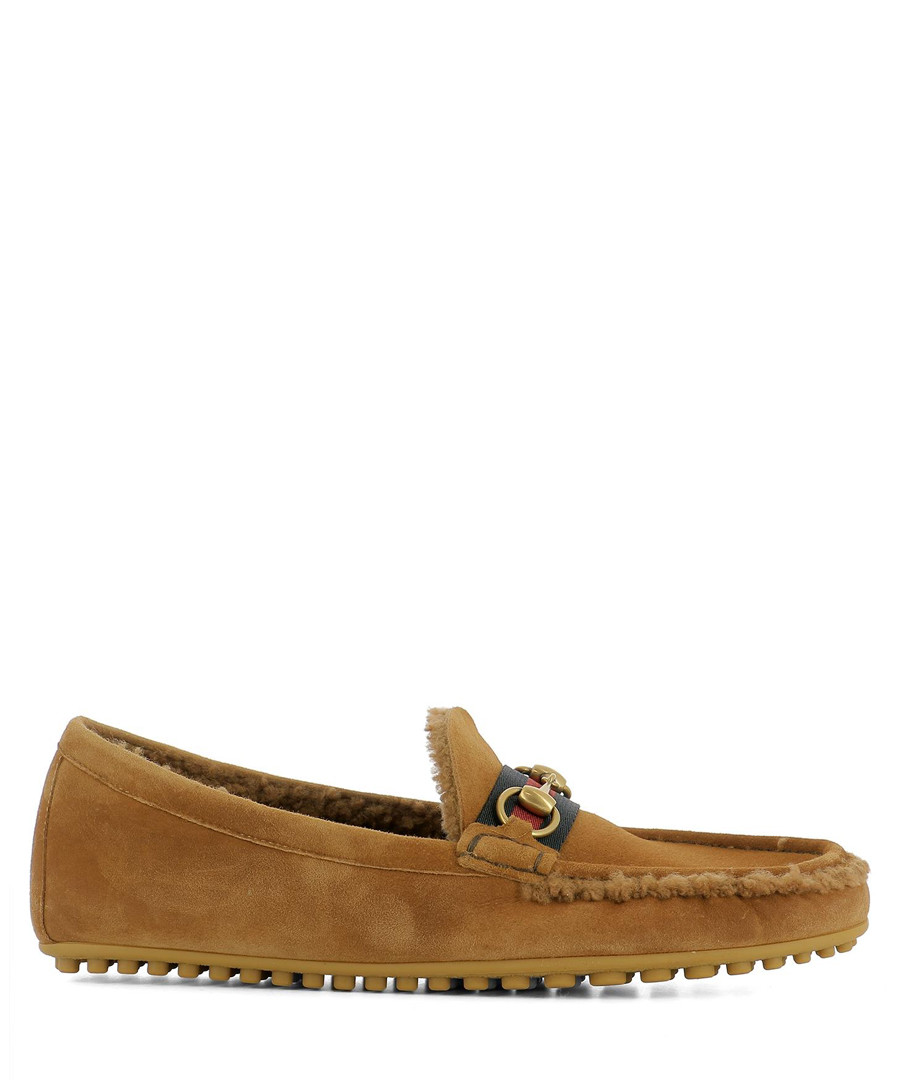 Brown suede ribbon loafers Sale - gucci