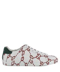 Women's white leather logo sneakers
