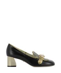 Women's black leather block heels