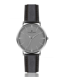 Eiger black leather numberless watch