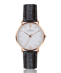 Dent Blanche black leather watch
