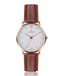 Dent Blanche cognac leather watch