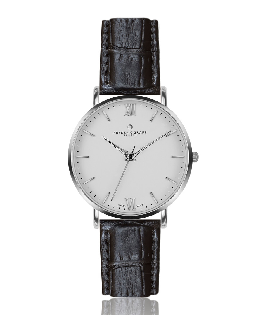 Dent Blanche black leather watch Sale - frederic graff