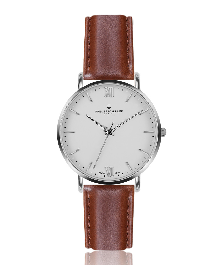 Dent Blanche cognac leather watch Sale - frederic graff