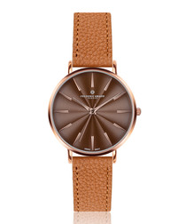 Monte Rosa ginger brown leather watch