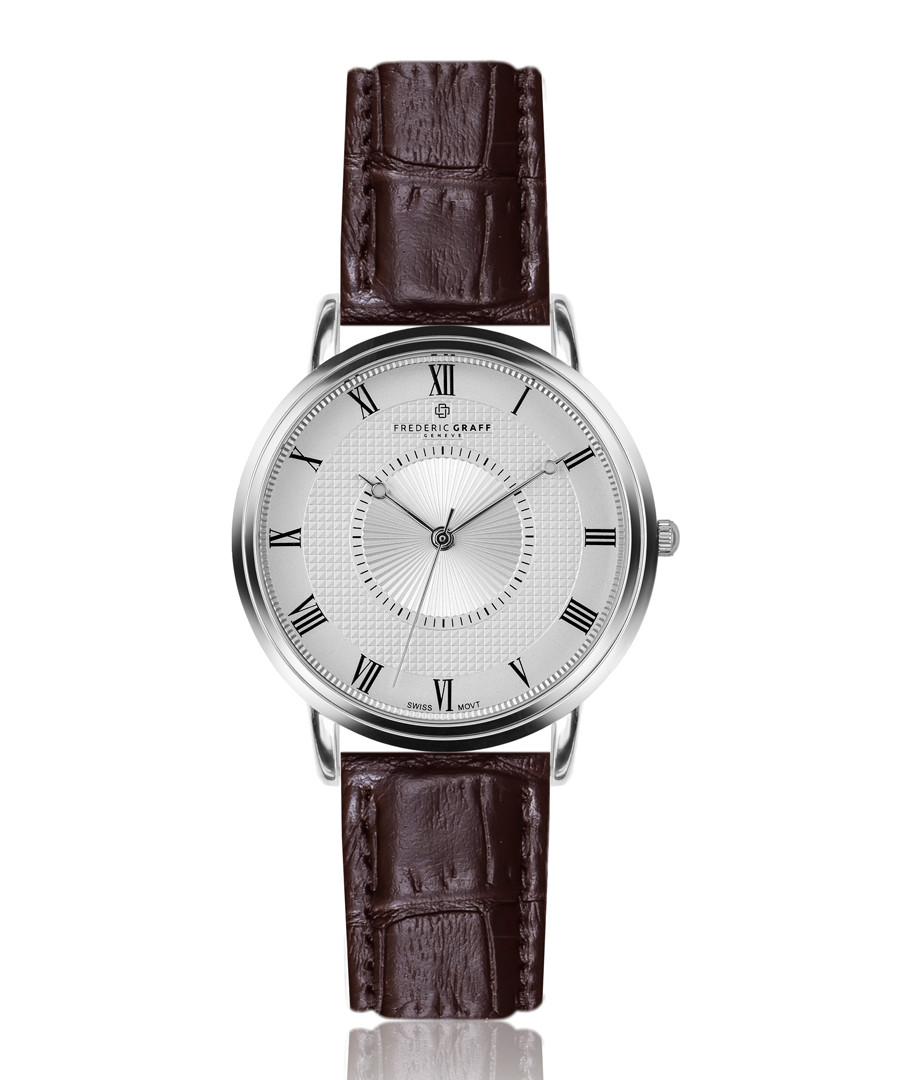 Grand Combin brown leather watch Sale - frederic graff