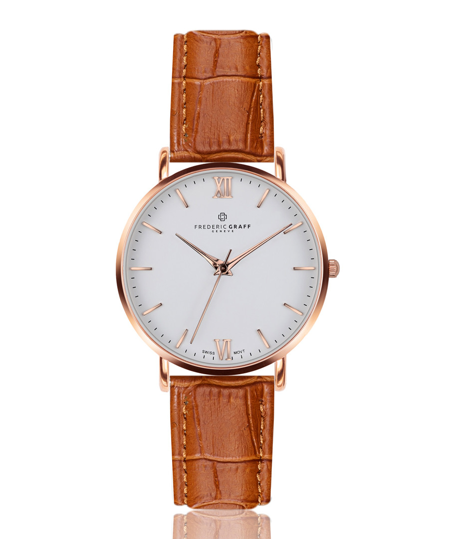 Dent Blanche ginger leather watch Sale - frederic graff