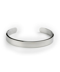 Silver-tone steel classic bangle