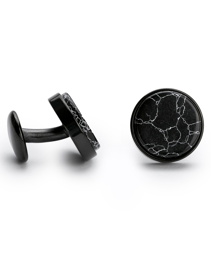 Black steel marble cufflinks Sale - monomen