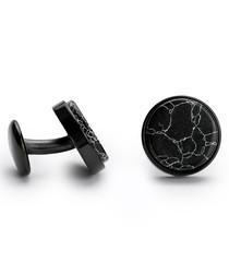 Black steel marble cufflinks