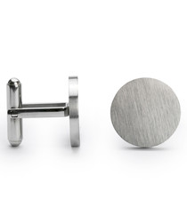 Silver-tone steel toggle close cufflinks
