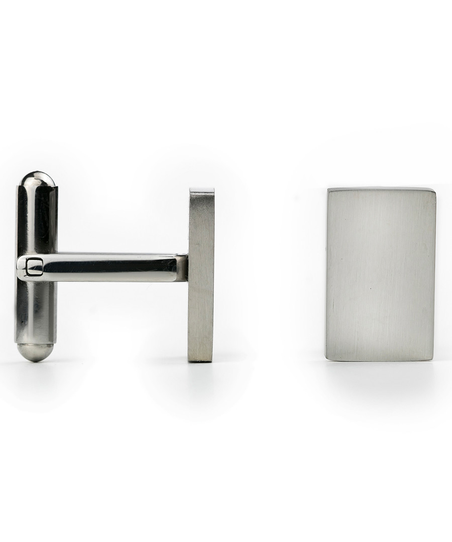 Silver-tone steel toggle back cufflinks Sale - monomen
