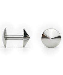 Silver-tone steel fixed cufflinks